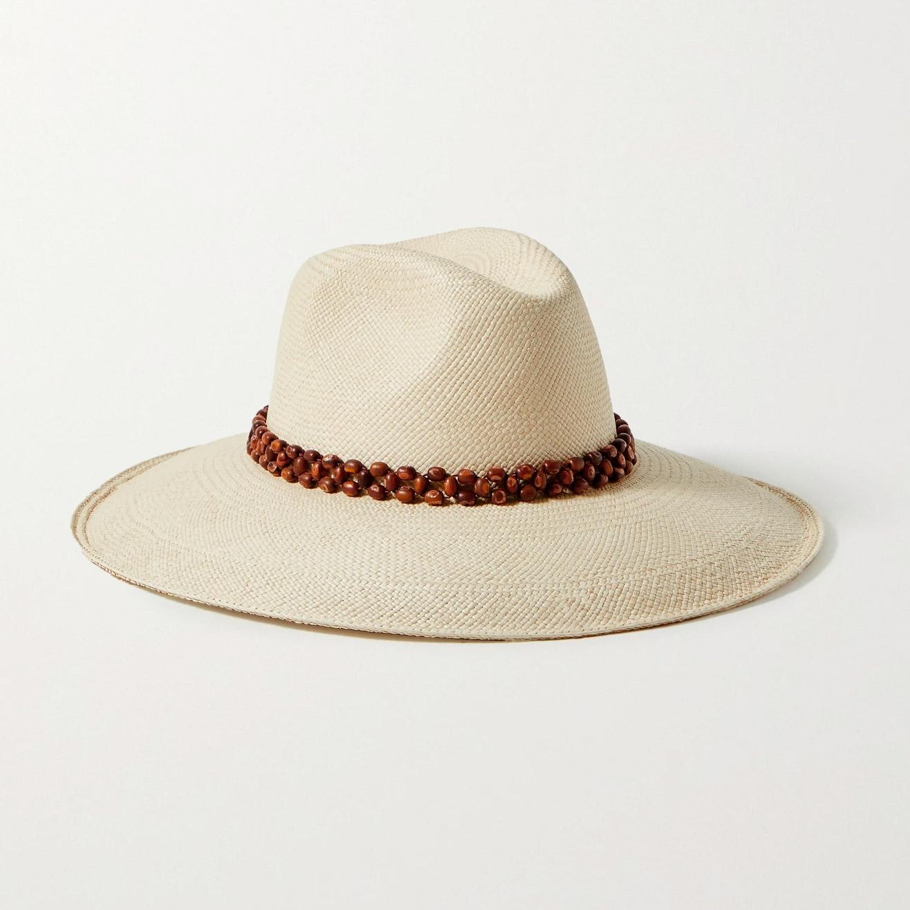 Artesano Peoni bead-embellished straw Panama hat